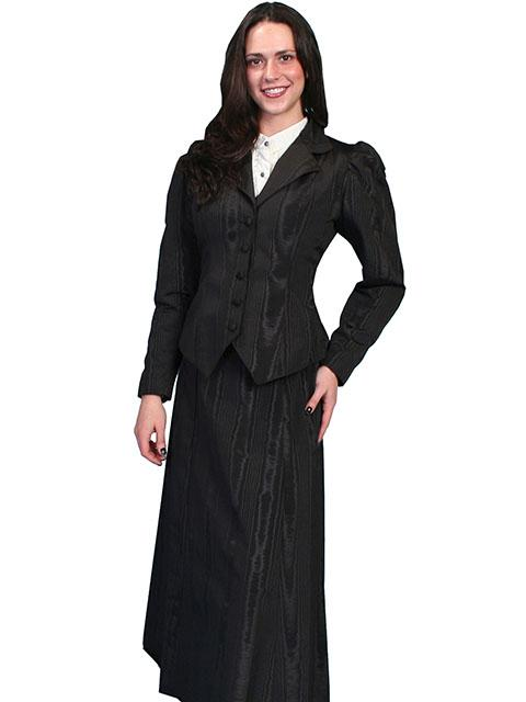Scully Ladies' Old West Skirt: Wahmaker Victorian Walking Skirt Moire Black