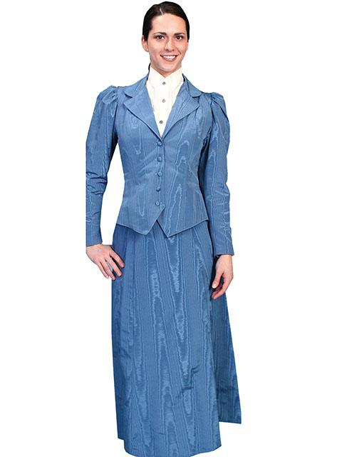 Scully Ladies' Old West Skirt: Wahmaker Victorian Walking Skirt Moire Blue