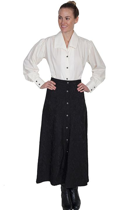 Scully Ladies' Old West Skirt: Wahmaker Victorian Button Front Floral Jacquard Black