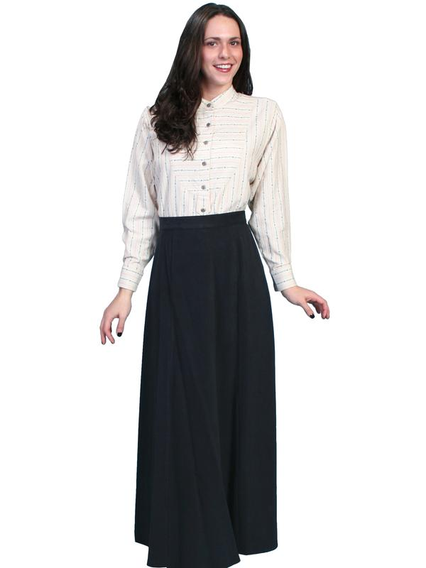 Scully Ladies' Old West Skirt: Rangewear Walking Skirt Cotton Black Backordered