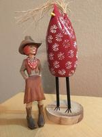 ZSold Navajo Folk Art: Edith John Chicken Standing Large  Red SOLD