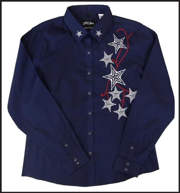 White Horse Ladies' Vintage Western Shirt: Embroidered Stars Navy