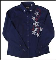White Horse Ladies' Vintage Western Shirt: Embroidered Stars Navy S-2XL