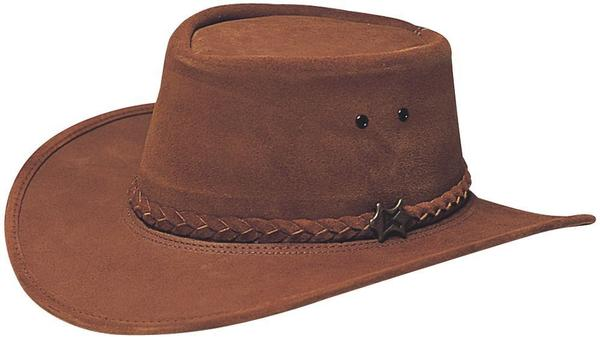Conner Handmade Hats BC Hats: Leather Stockman Suede Brown