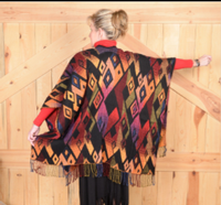 Rhonda Stark Designs Italian Acrylic Collection: Shawl Diamond Sunset, Fringe