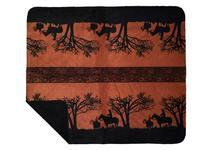 Denali® Western Collection: Sunset Cowboys Reverse Black Throw Blanket