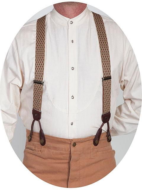 Scully Men's Accessory: Suspenders Rangewear Elastic Diamond Print Tan One Size