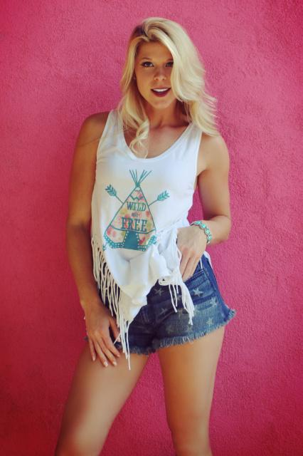Original Cowgirl Clothing: Tank Teepee Wild & Free Fringe S-XL