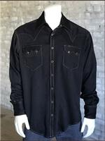 Rockmount Ranch Wear Men's Western Shirt: Sueded Tencel Black Backordered
