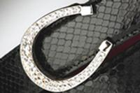 Terry Stack Belts & Buckles: Belt Buckle Equestrian Horsehoe Crystal Nickle Special Order