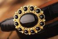 Terry Stack Belts & Buckles: Belt Buckle Stone Onyx Gold Special Order