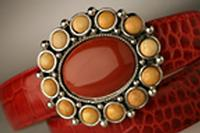 Terry Stack Belts & Buckles: Belt Buckle Yellow and Red Special Order