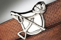 Terry Stack Belts & Buckles: Belt Buckle Equestrian Saddle Nickle Special Order