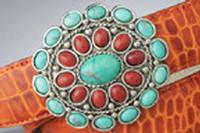 Terry Stack Belts & Buckles: Belt Buckle Stone Turquoise and Red Jasper Special Order
