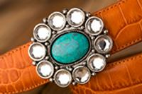 Terry Stack Belts & Buckles: Belt Buckle Stone Turquoise and Crystals Special Order