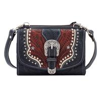 American West Handbag Texas Two Step Collection: Leather Crossbody Wallet Navy Blue