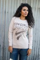 Original Cowgirl Clothing: A Thermal Cowgirl Woman with Dirt on Her