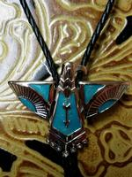 Rockmount Ranch Wear Accessory: Bolo Tie Thunderbird Turquoise