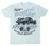 M&P Speed Shop Men's T-Shirt: Hollywood's Speed Machines Light Blue XS-4XL