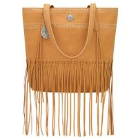 Bandana Handbag Rio Rancho Collection: Tote Zip Top Fringe Tan