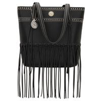 Bandana Handbag Rio Rancho Collection: Tote Zip Top Fringe Black