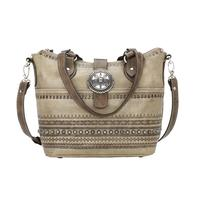 American West Handbag Trading Post Collection: Leather Convertible Zip Top Bucket Tote