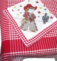ZSold Red and White Kitchen Tablecloth Set: Little Cowgirl SOLD