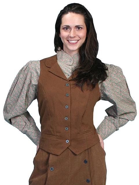 Scully Ladies' Old West Vest: Rangewear Brushed Twill Brown