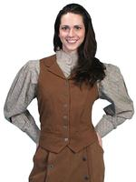 Scully Ladies' Old West Vest: Rangewear Brushed Twill Brown Backordered