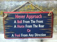 Wall Sign Advice: Never Approach A Bull From The Front