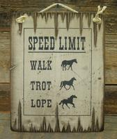 Wall Sign Barn: Horses Speed Limit Walk Trot Lope