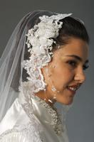 Ann N Eve Collection: Western Wedding Accessory Veil Sequined White