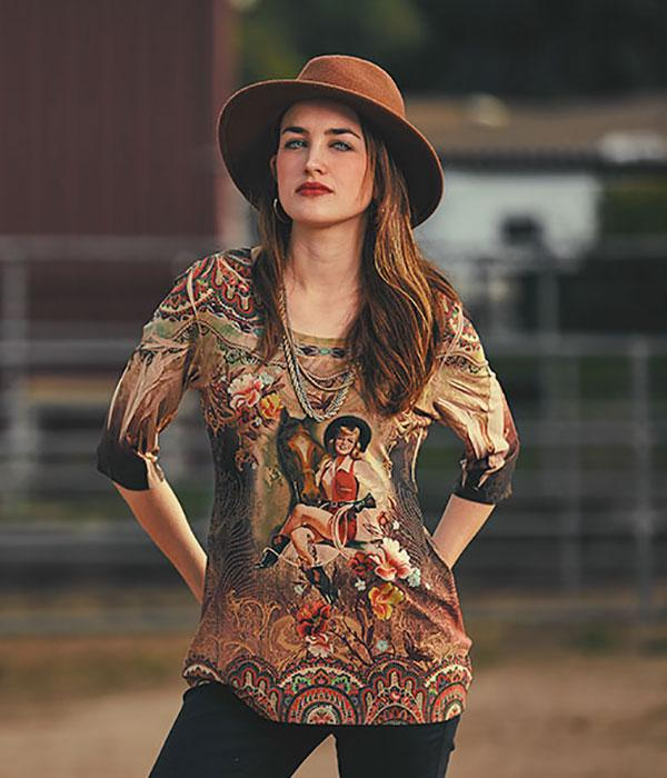 Ladies' Fantazia Apparel Top: 3/4 Sleeve Western Girl