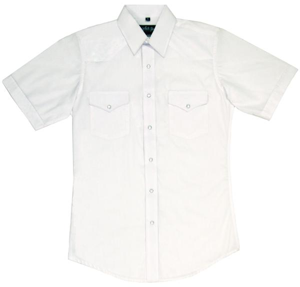 White Horse Men's Western Short Sleeve Shirt: Solid White