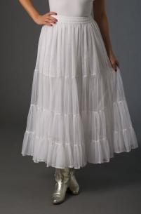 Ann N Eve Collection: Western Wedding Skirt Ruffled Net White One Size
