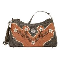 American West Handbag Desert Wildflower Collection: Leather Western Zip Top Shoulder Bag Natural Tan