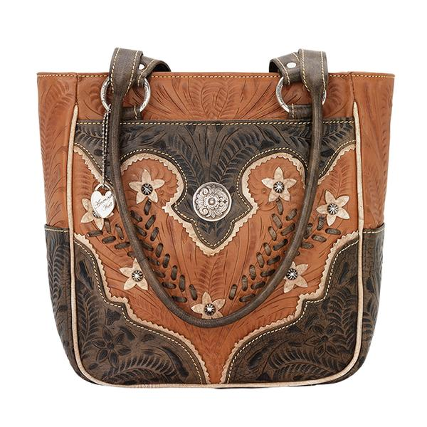 American West Handbag Desert Wildflower Collection: Leather Western Zip Top Tote with Pockets Natural Tan