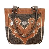 American West Handbag Desert Wildflower Collection: Leather Western Zip Top Tote with Pockets Golden Tan