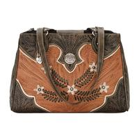 American West Handbag Desert Wildflower Collection: Leather Western Tote Multi Compartment Organizer Golden Tan