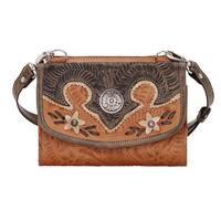 American West Handbag Desert Wildflower Collection: Leather Western Crossbody Wallet Small Golden Tan