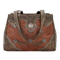 American West Handbag Desert Wildflower Collection: Leather Western Tote Multi Compartment Organizer Brown