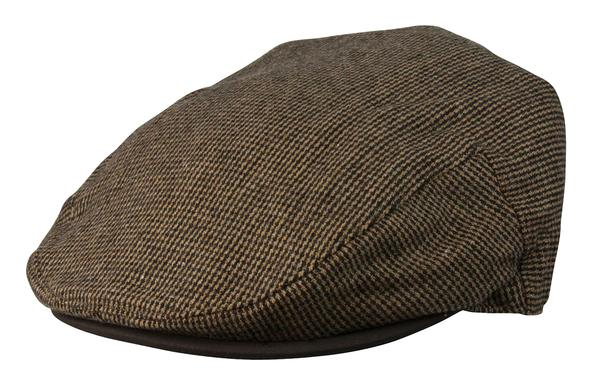 Conner Handmade Hats Cap: Moore Newsboy Wool Blend Brown with Leather Brim S-XL