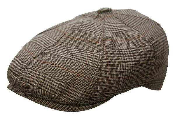 Conner Handmade Hats Cap: Oxford Newsboy Brown Plaid S-XL