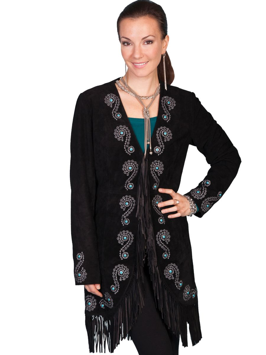 Scully Ladies' Suded Coat with Fringe